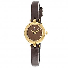 Titan Brass Case Brown Dial Analog Watch for Women (2521YL02)