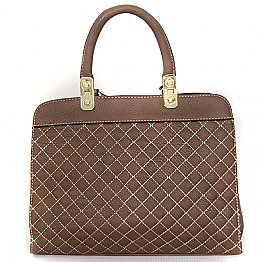 Stylish Ladies Bag - Front Crossed Line (Brown)