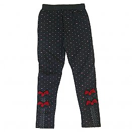 Cotton Leggings for Kids (Dark Grey with Pink Dotted)